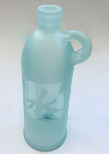 Retro Decorative TALL GLASS BOTTLE VASE with HANDLE - WATER